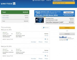 Houston-Rio de Janeiro: United Airlines Booking Page