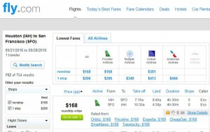 Houston-San Francisco: Fly.com Search Results