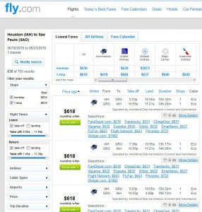 Houston-Sao Paulo: Fly.com Search Results