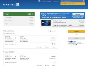 Houston-Sao Paulo: United Airlines Booking Page