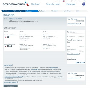 Houston to Miami: American Airlines Booking Page