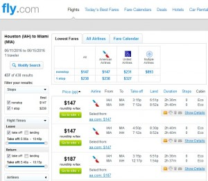 Houston to Miami: Fly.com Results