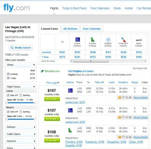 Las Vegas-Chicago: Fly.com Search Results
