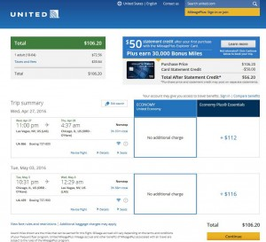 Las Vegas-Chicago: United Airlines Booking Page