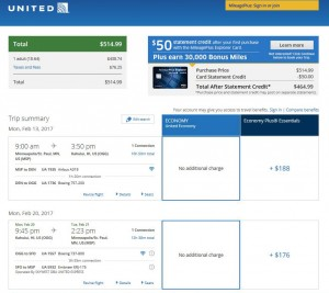 Minneapolis-Kahului, Maui: United Airlines Booking Page