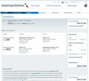 Minneapolis-Miami: American Airlines Booking Page