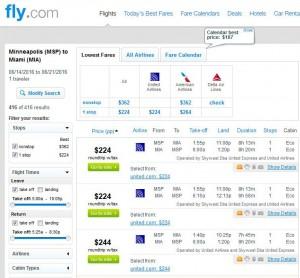 Minneapolis-Miami: Fly.com Search Results ($224)