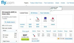 Minneapolis-Miami: Fly.com Search Results
