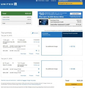 Minneapolis-Miami: United Airlines Booking Page