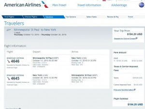 Minneapolis-New York City: American Airlines Booking Page ($185)