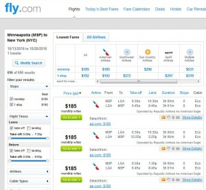 Minneapolis-New York City: Fly.com Search Results ($185)