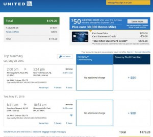 Minneapolis-New York City: United Airlines Booking Page