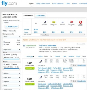 NYC to Amsterdam: Fly.com Results