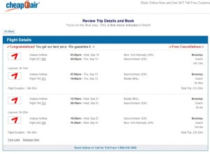 NYC to Manila: CheapOair Booking Page