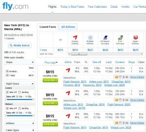 NYC to Manila: Fly.com Results