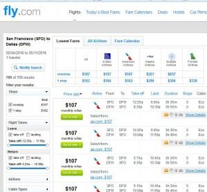 San Francisco-Dallas: Fly.com Search Results