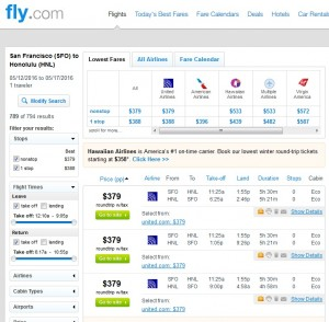 San Francisco to Honolulu: Fly.com Results