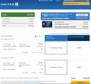San Francisco to Honolulu: United Booking Page
