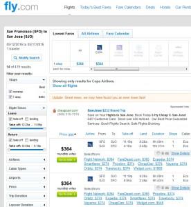 San Francisco to San Jose, Costa Rica: Fly.com Results