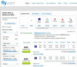 Seattle-Melbourne: Fly.com Search Results