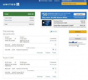 Seattle-Melbourne: United Airlines Booking Page