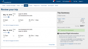 Boston to San Jose: Travelocity Booking Page