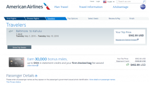 Baltimore to Maui: AA Booking Page