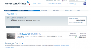 Denver to Belize City: AA Booking Page