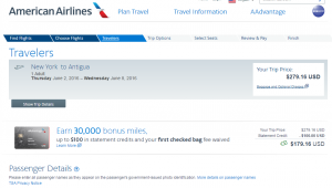 NYC to Antigua: American Airlines Booking Page