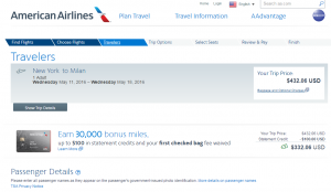 NYC to Milan: American Airlines Booking Page