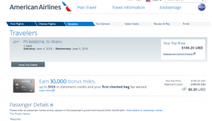 Philly to Miami: American Airlines Booking Page