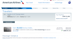 Seattle to St Thomas: American Airlines Page