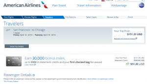 SF to Chicago: AA Booking Page