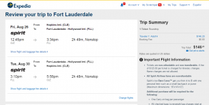 Cleveland to Fort Lauderdale: Expedia Booking Page