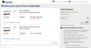 Denver to Ft Lauderdale: Expedia Booking Page