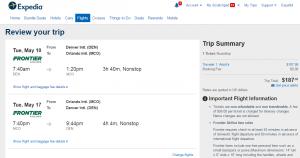 Denver to Orlando: Expedia Booking Page