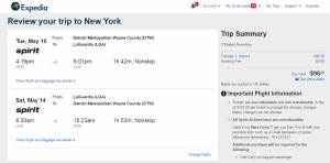 Detroit to NYC: Expedia Booking Page