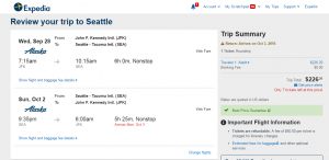 NYC to Seattle: Expedia Booking Page