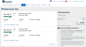 SF to Chicago: Expedia Booking Page