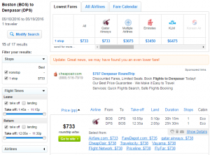 Boston to Bali: Fly.com Results Page