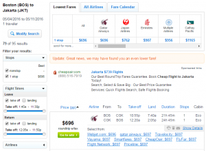 Boston to Jakarta: Fly.com Results Page