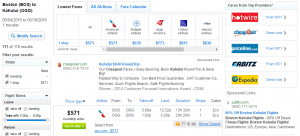 Boston to Maui: Fly.com Results Page