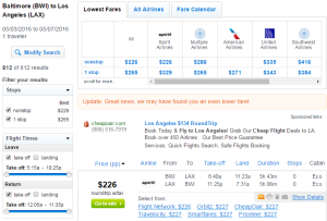 Baltimore to LA: Fly.com Results Page