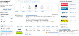 Baltimore to Maui: Fly.com Results Page