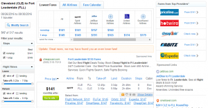 Cleveland to Fort Lauderdale: Fly.com Results Page