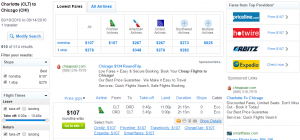 Charlotte to Chicago: Fly.com Results Page