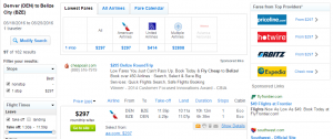 Denver to Belize City: Fly.com Results Page