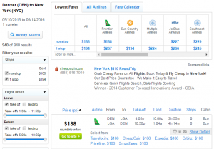 Denver to NYC: Fly.com Results Page