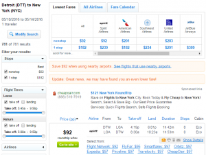 Detroit to NYC: Fly.com Results Page