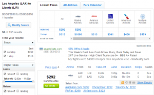 LA to Costa Rica: Fly.com Results Page